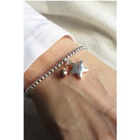 Personalised Silver Star Beaded Bracelet and Mini Charm