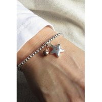 Personalised Silver Beaded Bracelet with Engraved Star Charm