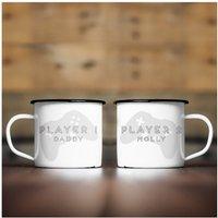 Personalised Player 1 and 2 Enamel Mug Set.