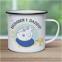 Personalised Peppa Pig Number 1 Daddy Enamel Mug