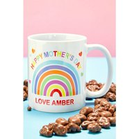 Personalised Rainbow Mothers Day Mug and Chocolates.