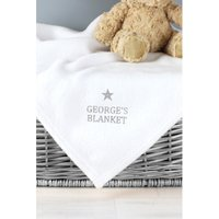 Personalised Silver Star White Baby Blanket.