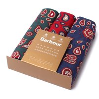 3 Pack Paisley Cotton Handkerchiefs - Red, Blue & Green