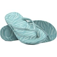 Women's IQushion Ergonomic Flip Flops - Aqua Tiger Print