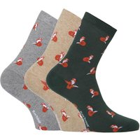 3 Pack Fox Motif Socks Giftbox