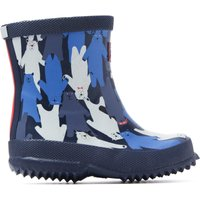 Infant Mulbear Navy Printed Rubber Wellington Boots