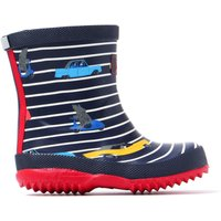 Infant Car Printed Navy Stripe Rubber Wellington Boots