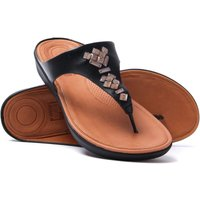 Banda Crystal Leather Toe Thong Sandals - Black