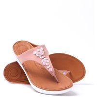Banda Crystal Leather Toe Thong Sandals - Dusty Pink