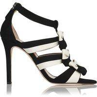 Issie Black & Cream Suede Court Shoes