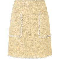 Rafia Yellow Cotton Mix Tweed Skirt
