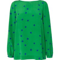 Teka Green Silk Printed Top
