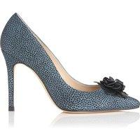 Phoebe Blue Metallic Flock Leather Courts