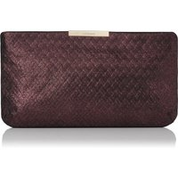 Flora Loganberry Woven Leather Clutch