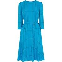 Elva Blue Check Silk Dress