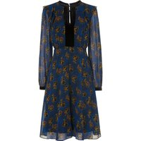 Leticia Blue Floral Silk Dress