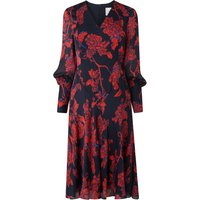 Mina Rose Print Silk Dress