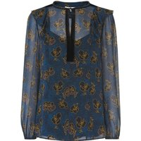Leticia Blue Floral Silk Woven Top