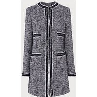 Charl Navy Cream Tweed Coat, Navy Cream