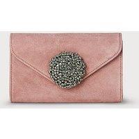 Sissi Pink Suede Clutch Bag, Dark Pink