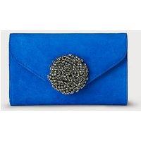 Sissi Blue Suede Clutch Bag, Poolside