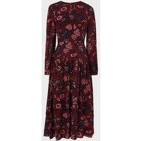 Julisa Red Silk Dress, Red Multi