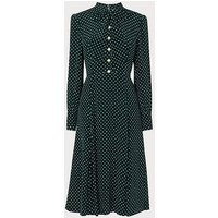 Mortimer Green Polka Dot Silk Dress, Green Polka