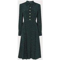 Mortimer Green Polka Dot Silk Dress, Green Polka
