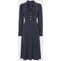 Mortimer Navy Polka Dot Silk Dress, Navy