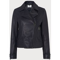 Amabel Navy Leather Jacket, Navy