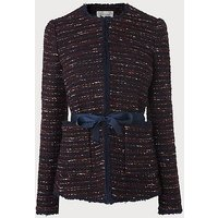 Elaine Wine Navy Tweed Jacket, Blue Multi