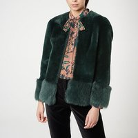 Mishia Green Shearling Jacket, Forest