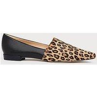 Vienetta Leopard Print Calf Hair Suede Flats, Black Natural