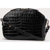 Candice Black Croc Effect Shoulder Bag, Black