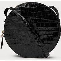 Luna Black Croc Effect Shoulder Bag, Black