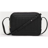 Mariel Black Leather Shoulder Bag, Black