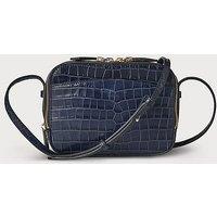 Mariel Navy Croc Effect Shoulder Bag, Navy
