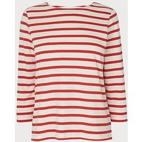 Trin Red White Cotton Jersey Top, Red White
