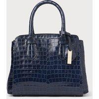 Cassandra Navy Croc Tote Bag