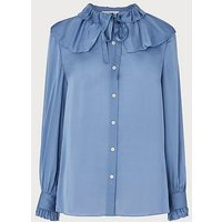 Ariella Blue Silk Blouse, Pale Blue