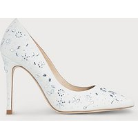 Fern Ivory Satin Crystals Closed Courts, Ivory