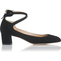 Polly Black Suede Closed Courts