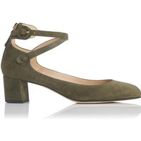 Polly Khaki Suede Closed Courts