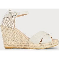 Angele Ivory Leather Espadrille Sandals, Ivory