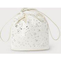 Brigitte Ivory Satin Clutch Bag, Ivory