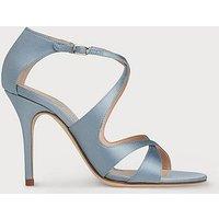 Brielle Blue Satin Sandals, Dusty Blu
