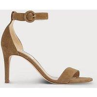 Dora Brown Suede Sandals, Light Biscuit
