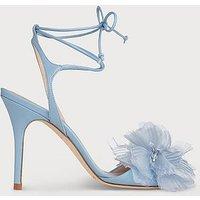 Summer Blue Leather Sandals, Dusty Blu