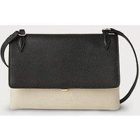 Patricia Black Leather Shoulder Bag, Black Ivory