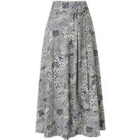 Aurell Navy Cream Cotton Skirt